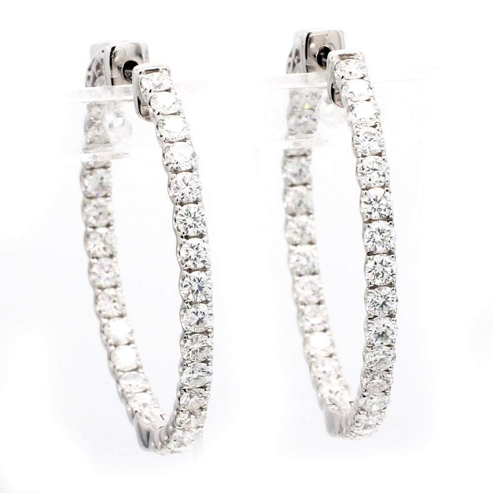 18K White Gold & 2.78ctw Diamond Inside Out Hoop Earrings