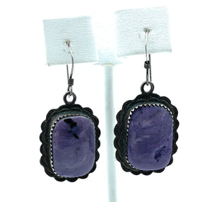 Navajo Sterling Silver & Sugilite Dangle Earrings