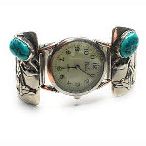 Vintage Navajo Sterling Silver Kingman Turquoise Watch Tips Band