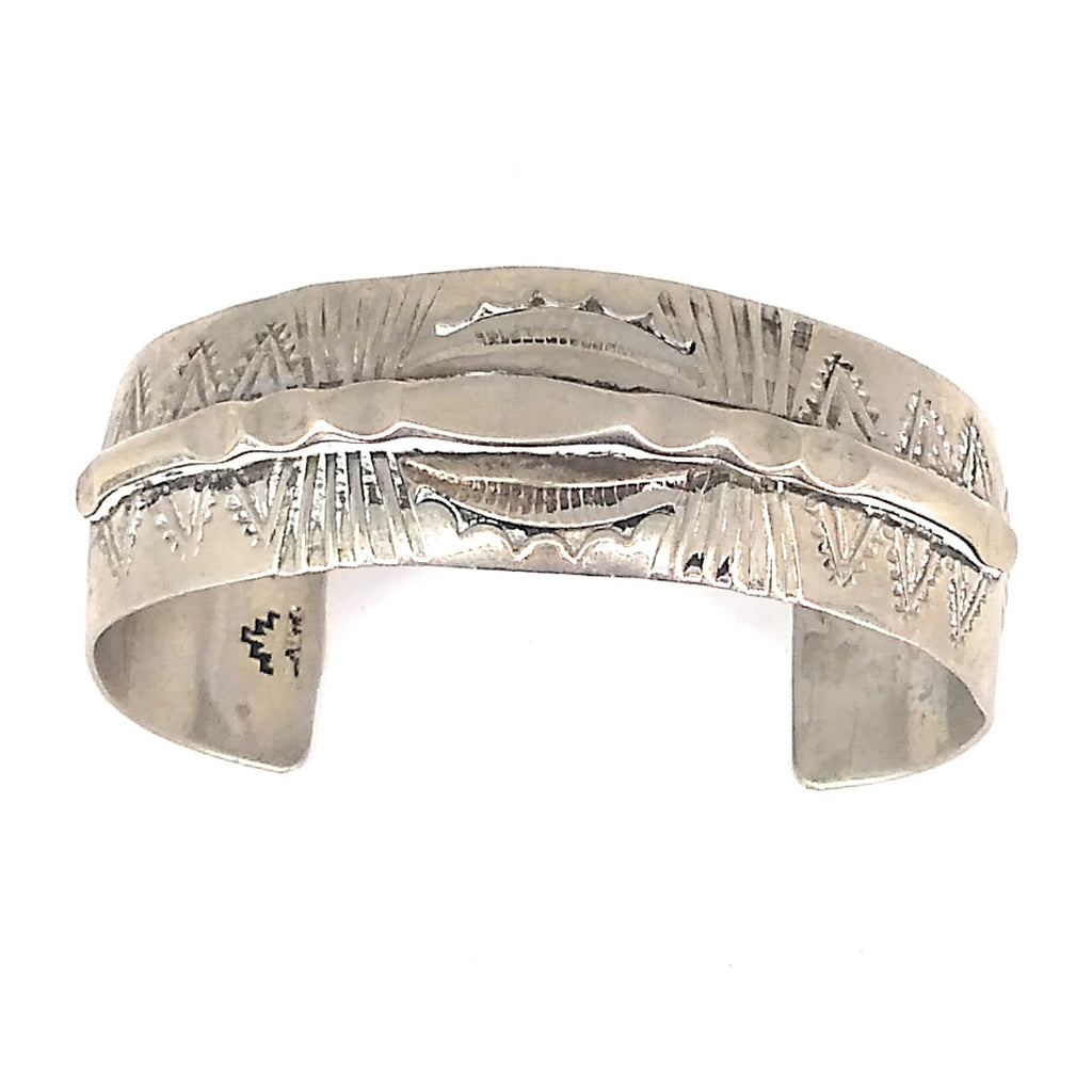 Sterling Silver Thick Band Navajo Stamped Bangle Cuff
