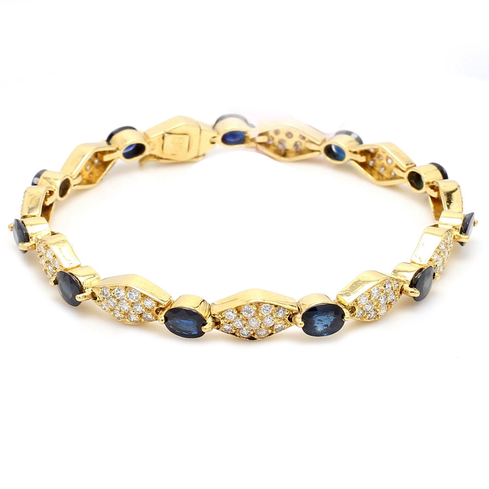 18K Yellow Gold Sapphire & Diamond Tennis Style Link Bracelet