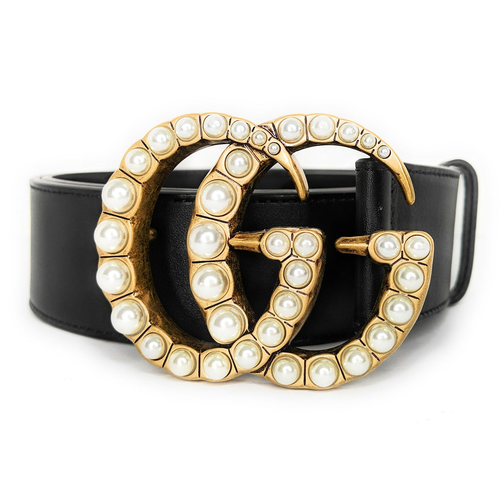 Gucci Wide Leather Belt with Pearl Double G Size 80