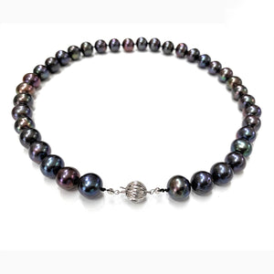 Vintage Tahitian Black Pearl Necklace & 14K White Gold Clasp - 19.5""