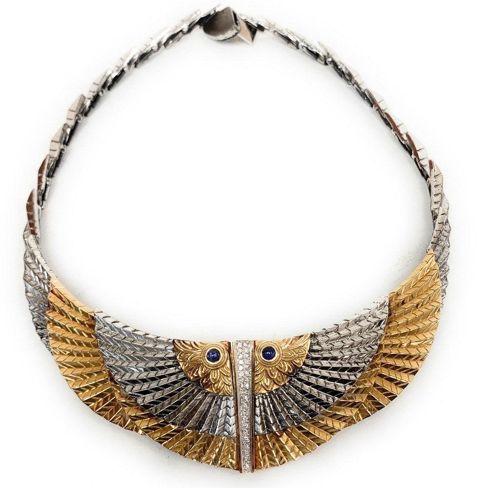 ERTE Nile 14K Gold & Sterling Silver Egyptian Wing Bib w/ Diamonds & Sapphires
