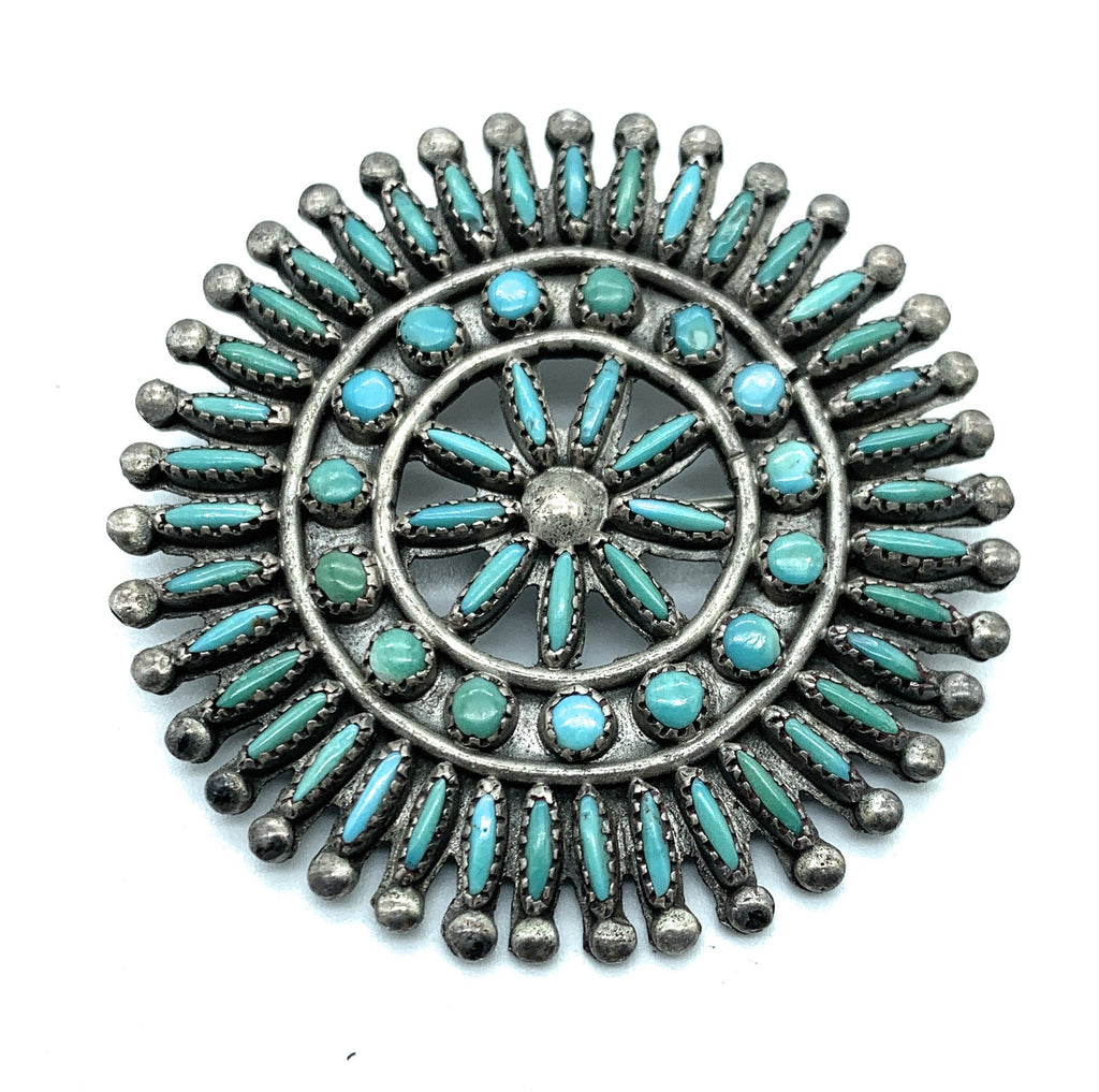 Vintage Old Pawn Sterling Silver Zuni Petit Point Turquoise Brooch