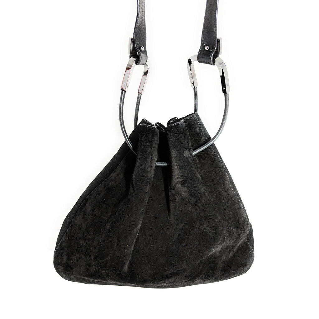 Gucci Vintage Black Suede Drawstring Bucket Hobo