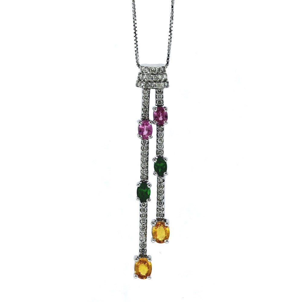 14K White Gold Diamond & Multi-Stone Tassel Style Pendant Necklace