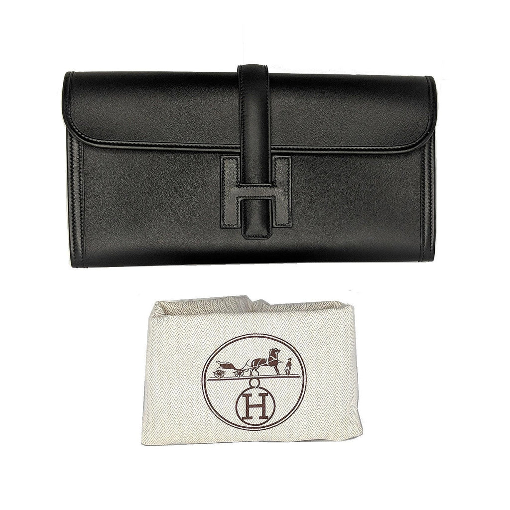 Hermès Jige Elan 29 Noir Swift Leather Clutch Bag