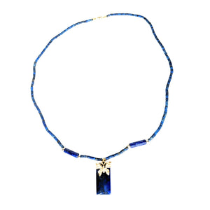 Lapis Beaded Fashion Electroplated Butterfly Pendant Necklace