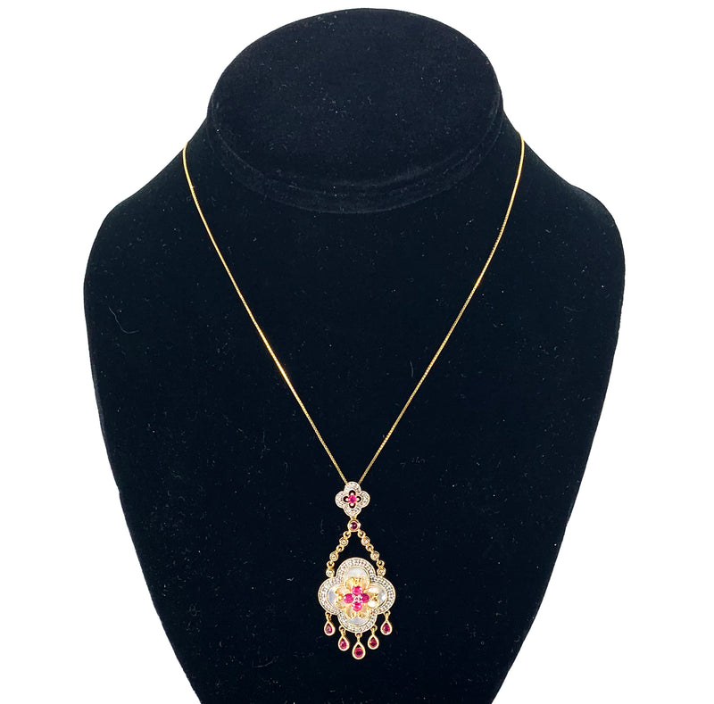 Beautiful Vintage inspired Mother Of Pearl, Ruby & Diamond Pendant on 14K Gold Chain