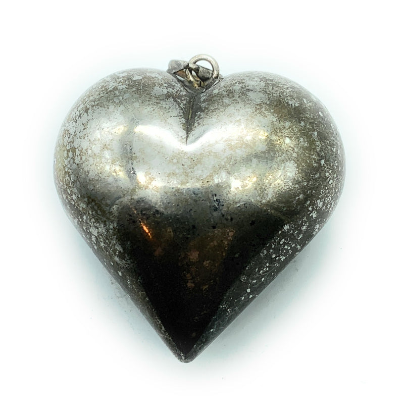 Vintage 1960's Sterling Silver Puffy Heart Pendant