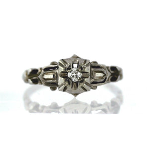 14K White Gold Antique Art Deco 0.15ctw Diamond Ring - Sz. 6