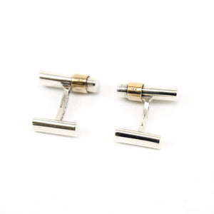 Hermes Sterling Silver and 18K  Yellow Gold Cufflinks