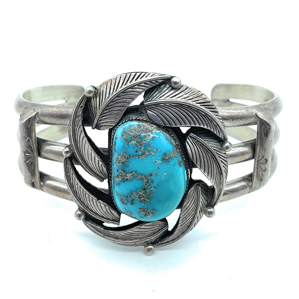 Vintage 1960's Sterling Silver & Royston Turquoise Shadowbox Cuff Bracelet