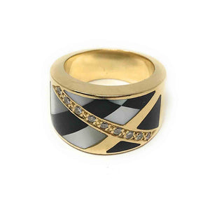 Elegant 14k Yellow Gold, Ashch Grossbardt,Onyx Liner, Mother Pearl & Diamond Ring