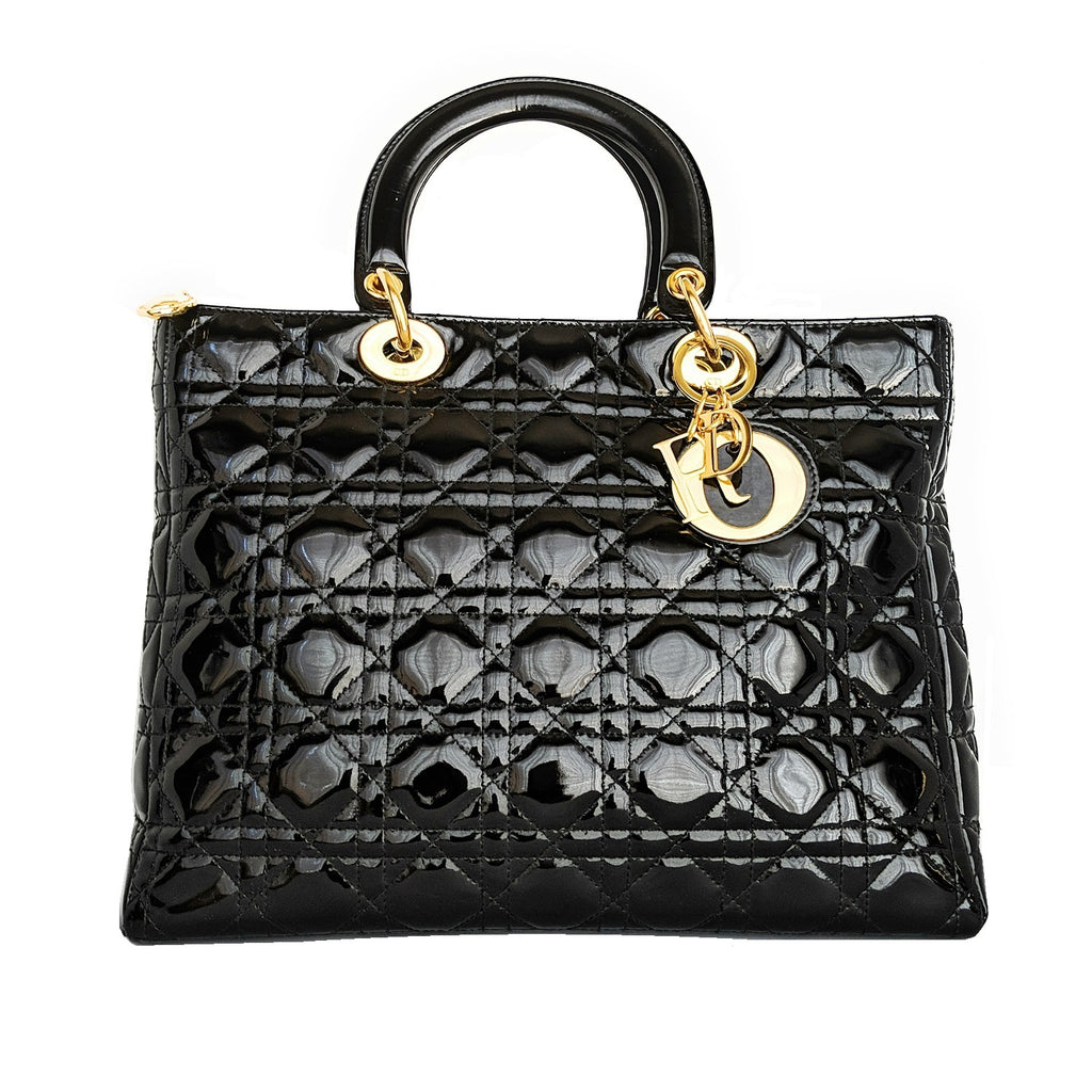 Christian Dior Black Large Patent Cannage Lady Dior Bag