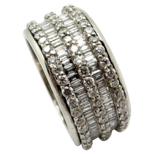 14 Karat White Gold Round and Baguette Diamond Eternity Band Ring, Size 7
