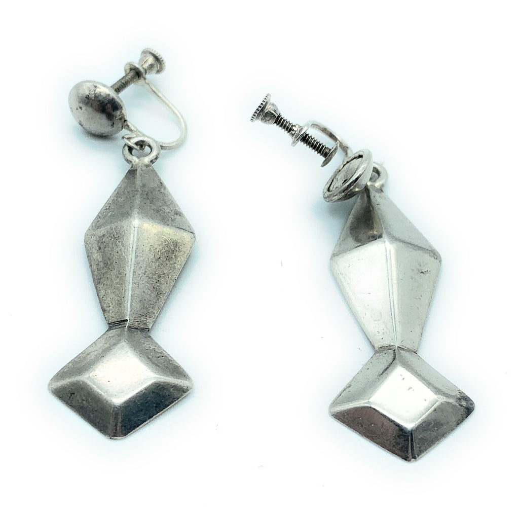 Vintage 1970's Navajo Sterling Silver Dangle Screw-On Earrings