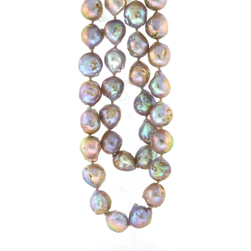 14K White Gold Pink & Purple Baroque Pearl Necklace