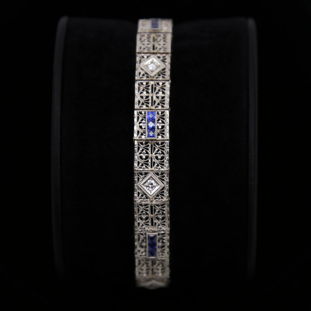 14K White Gold Art Deco Bracelet with 5 Diamonds and 12 Synthetic Sapphires