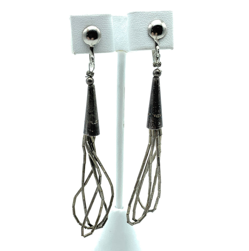 Vintage 1970's Navajo Liquid Silver Sterling Silver Dangle Earrings