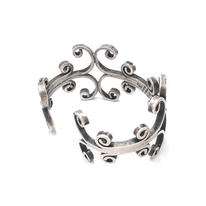 Mexican Sterling Silver Signed Scrolling Statement Cuff Bracelet