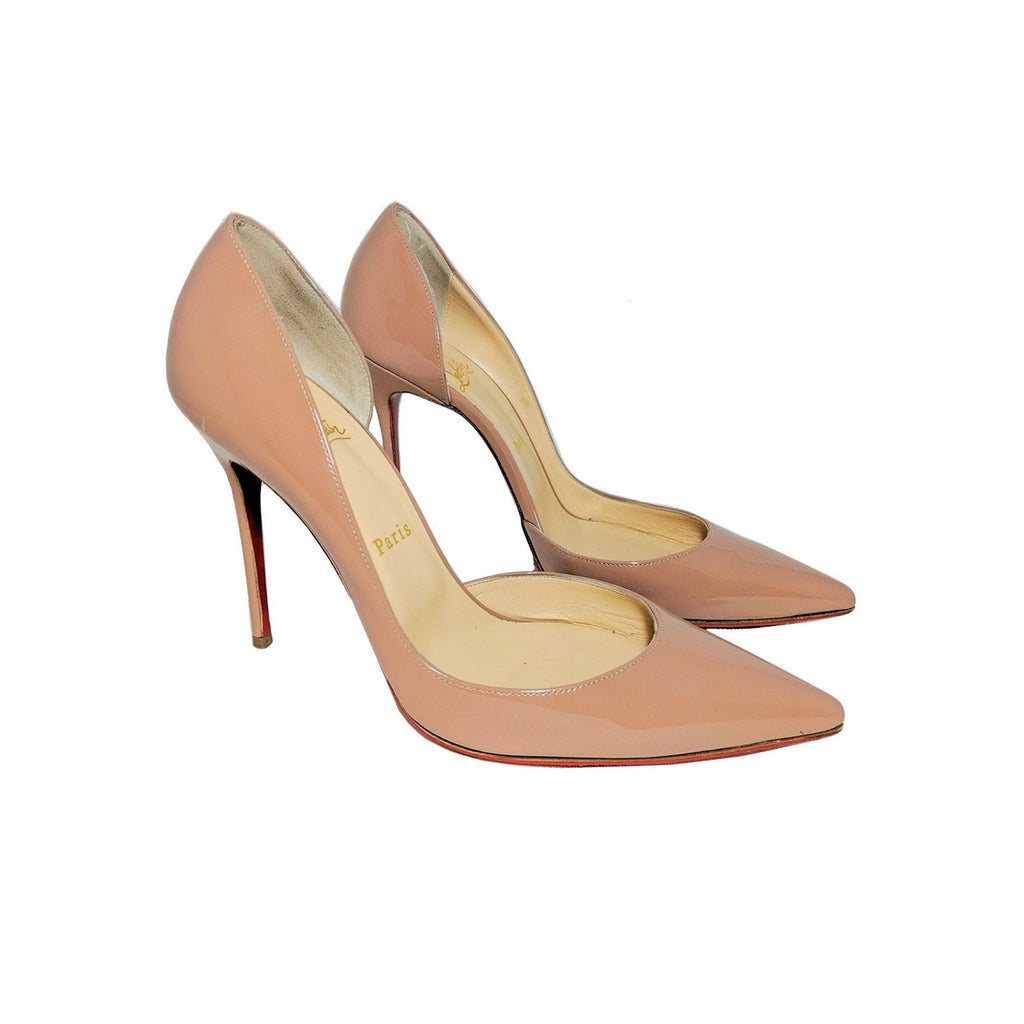 Christian Louboutin Iriza 100 Nude Patent Leather D'Orsay Pumps 39.5