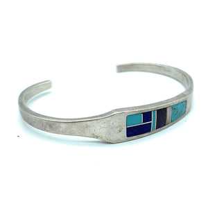 Vintage Old Pawn Heavy Gauge Sterling Silver & Multi Stone Inlay Cuff Bracelet