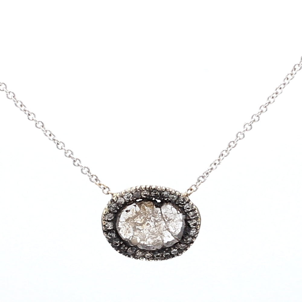 Vintage 14K Gold Grey Diamond Slice Pendant and Necklace
