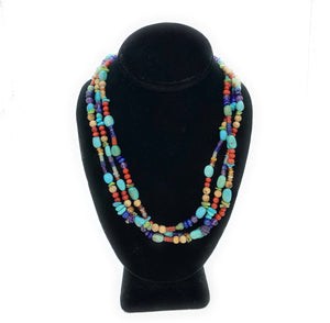 Old Pawn Navajo 3-Strand Turquoise & Multi Stone Bead Necklace