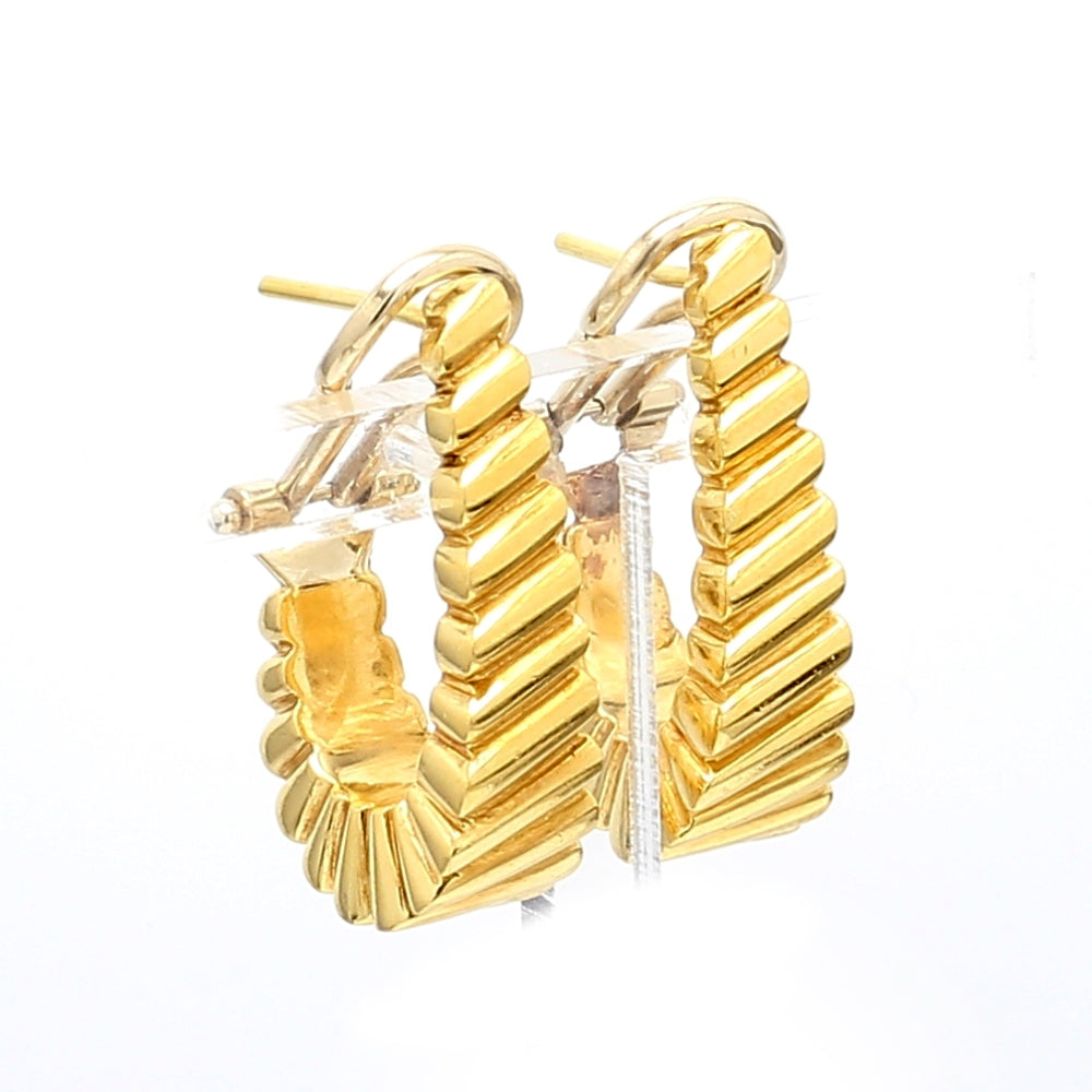 18K Yellow Gold Scallop Design Omega Back Post Earrings