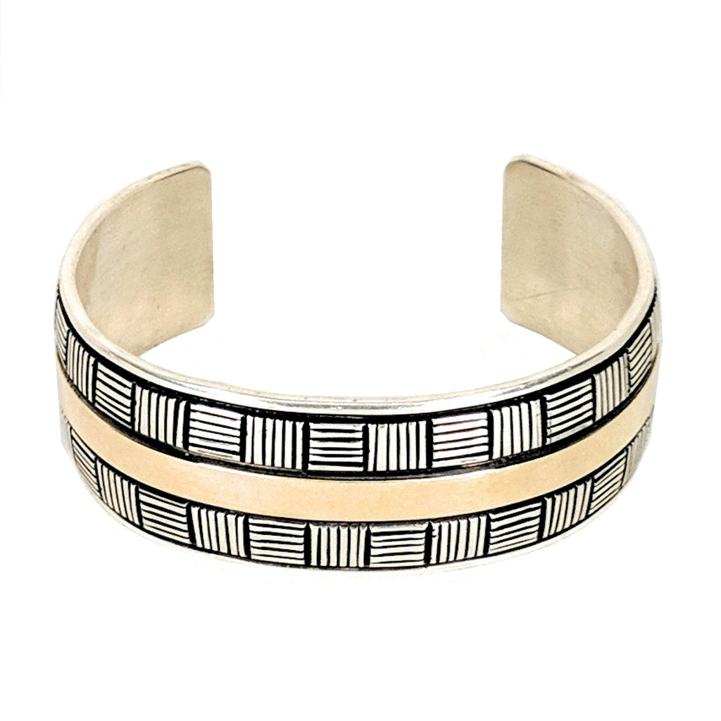 Navajo Signed Ivan Howard 14K YG Sterling Bracelet Cuff