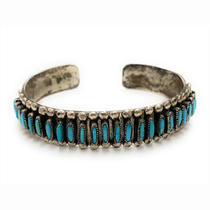 Vintage Zuni Sterling Silver Needlepoint Turquoise Cuff Bracelet - Signed