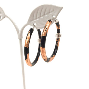 Black Enamel Rose Gold Foil Sterling Silver and Diamond Hoop Earrings