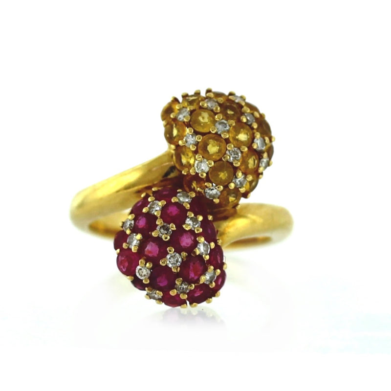 Vintage 18K Yellow Gold Diamond, Sapphire & Ruby Cocktail Ring - Sz. 6¼