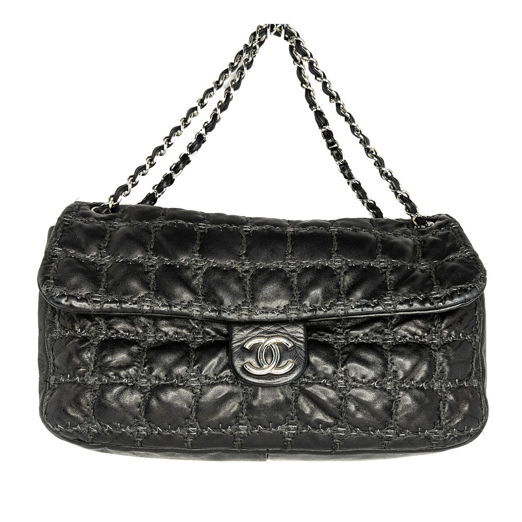 Chanel Maxi Tweed Double Stitch Flap Bag
