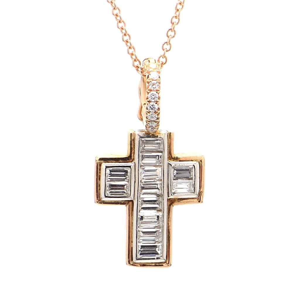 Platinum & Rose Gold 1.30ctw Diamond Crucifix Pendant and Necklace