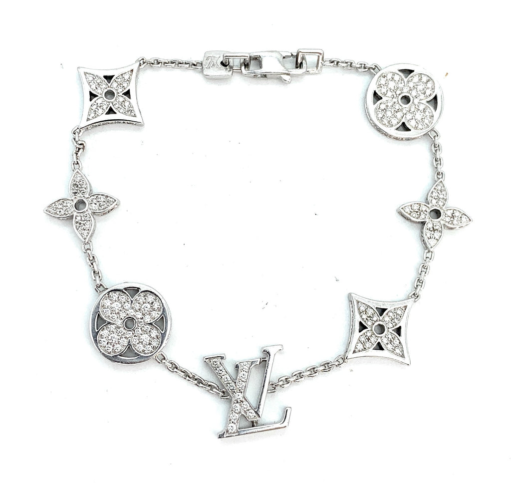 LOUIS VUITTON 18K White Gold 1.40ctw Diamond Idylle Blossom Bracelet