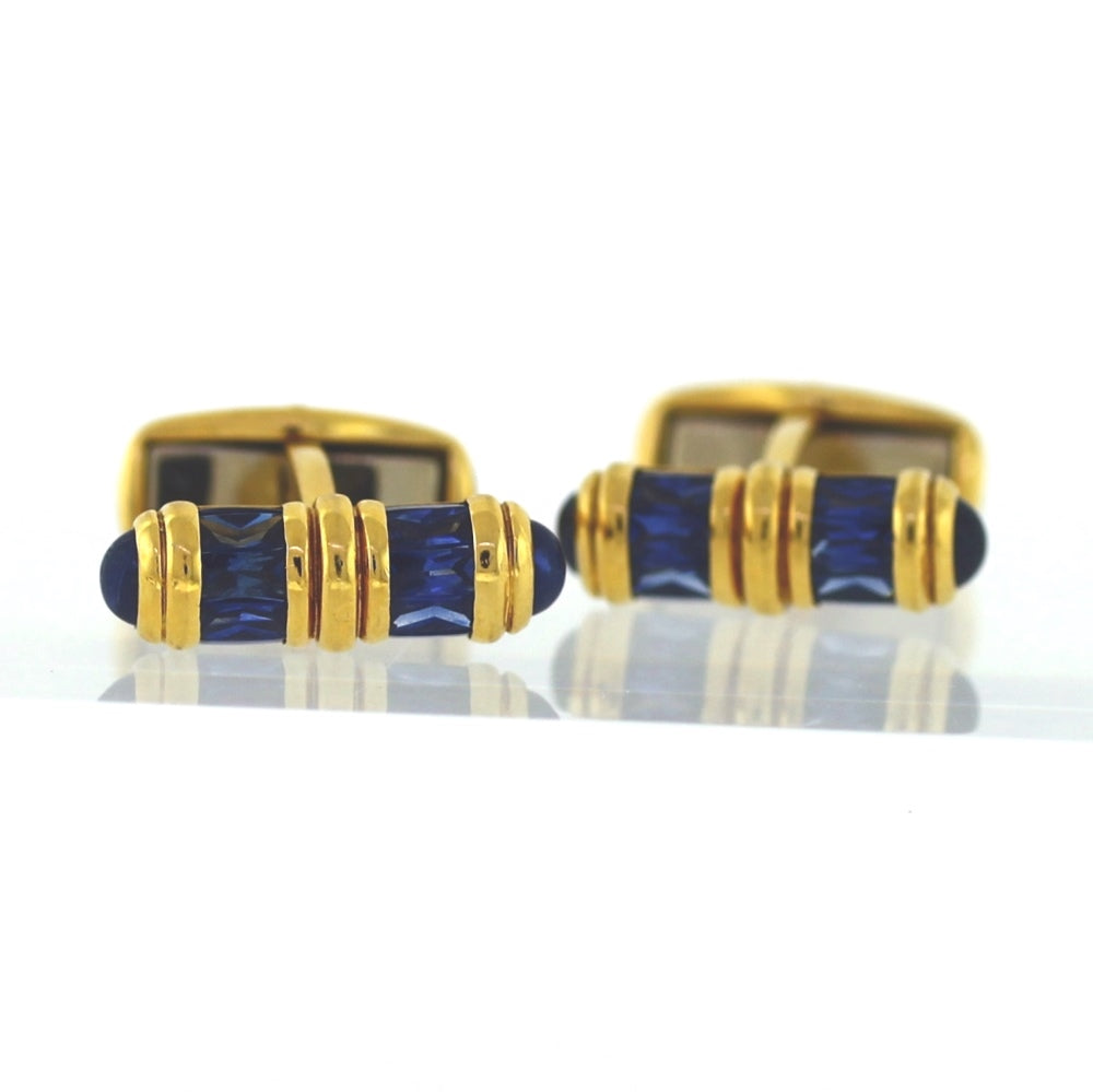 Vintage 18K Yellow Gold & Sapphire Barrel Cuff Links