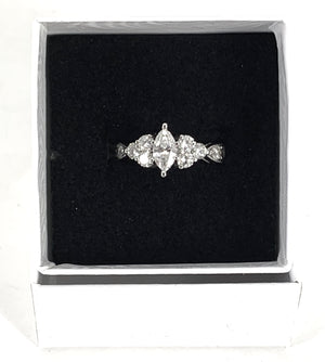 TIMELESS 14K White Gold 0.82ctw Marquise Cut Diamond Engagement Ring