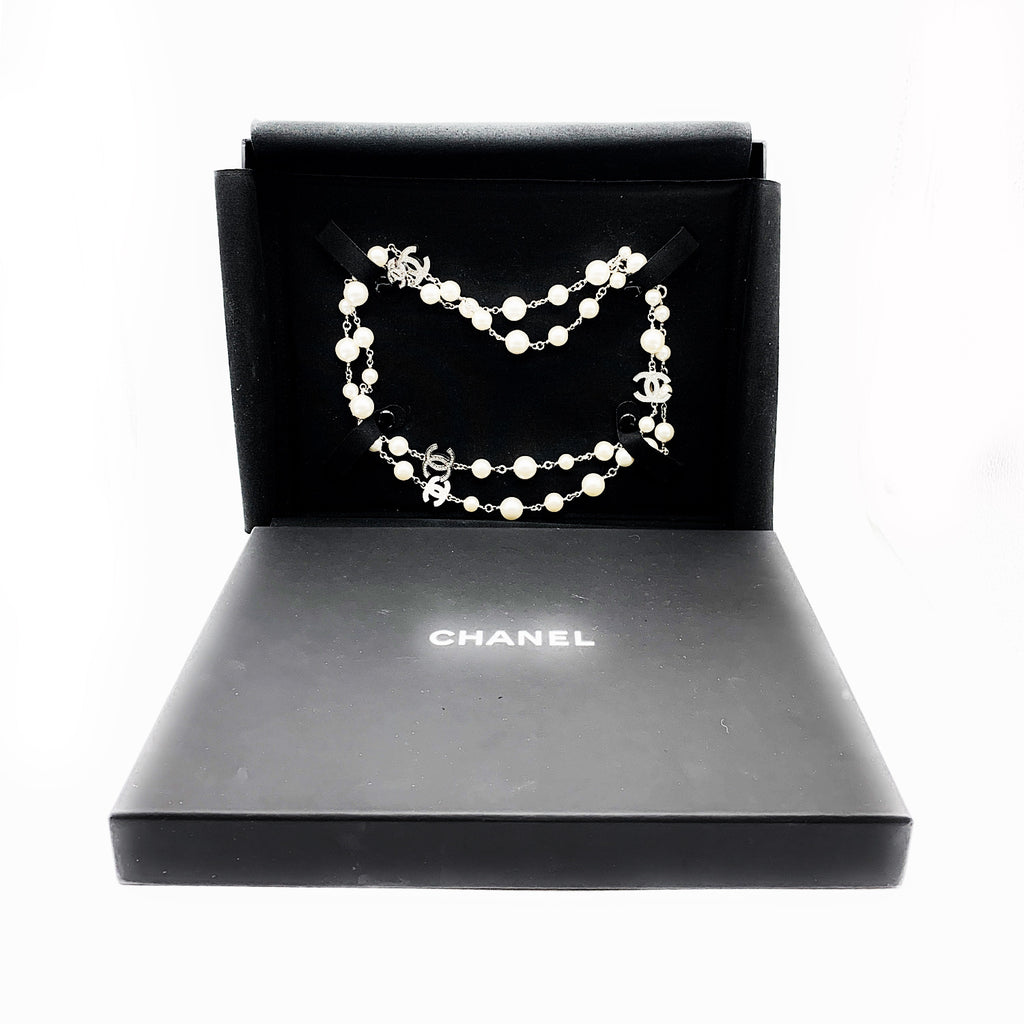 Chanel 5 CC Logo Pearl & Crystal Double Wrap Necklace