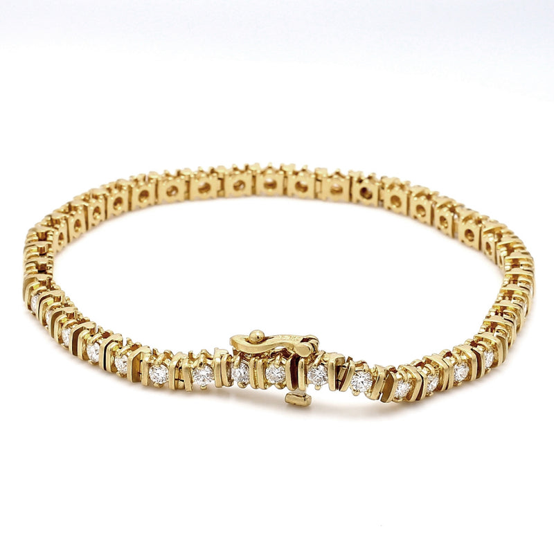 18K Yellow Gold 2.50ctw Diamond Tennis Bracelet - Sz. 7.5