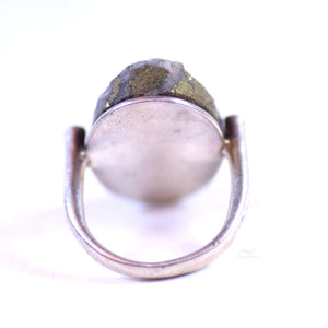 Sterling Silver and Gold-Colored Stone Ring, Size 6.75