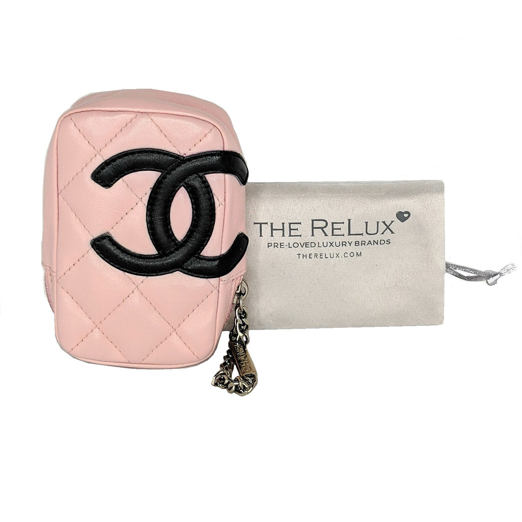Chanel Pink Quilted Calfskin Mini Ligne Cambon Pouch