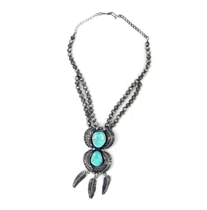 Vintage 1960's Navajo Sterling Silver & Turquoise Bench Bead Pendant Necklace