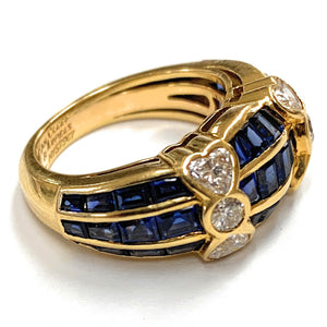 Van Cleef & Arpels 18K Yellow Gold 3.0ctw Sapphire & .80ctw Diamond Ring