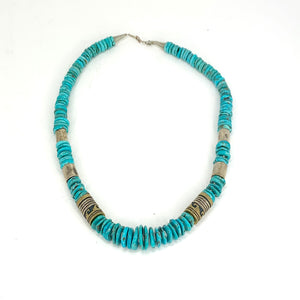 GORGEOUS Navajo Sterling Silver & Turquoise Barrel Bead Necklace