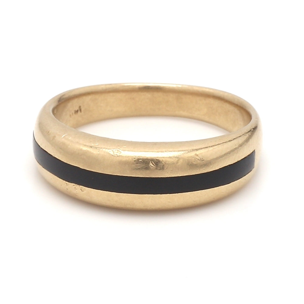 14K Yellow Gold & Black Jade Men's Wedding Ring - Sz. 9.75