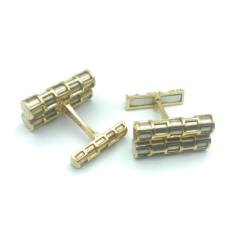 Tiffany & Co 18K Two Tone Gold Double Bar Open Rectangle Cufflinks