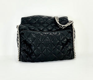 CHANEL Black Hobo Quilted Ultimate Soft Chain Around Tote Bag